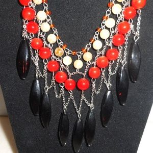 Handcrafted Bib Necklace Scarlet, Amber, Ivory